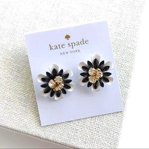 Kate spade black Mateo chip floral earrings
